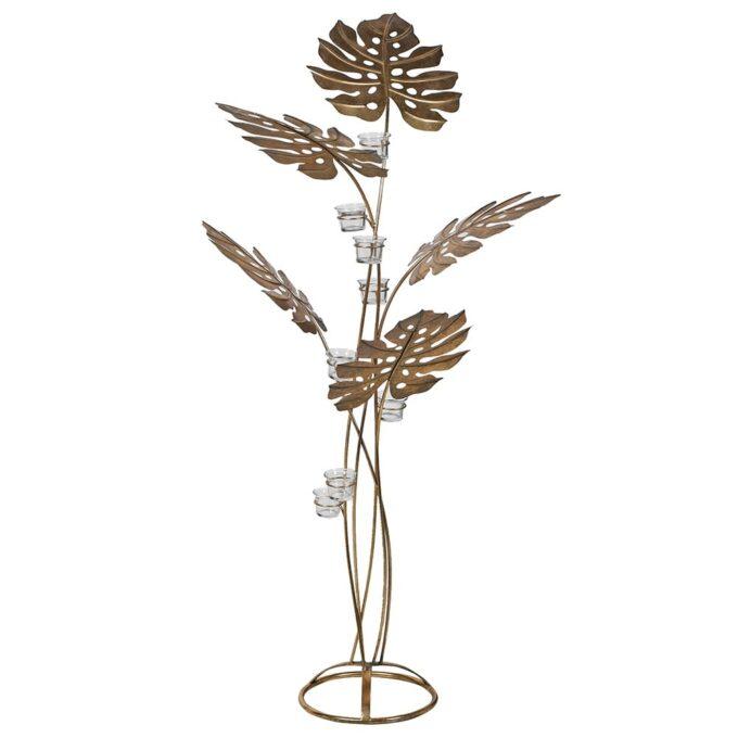 Златист метален свещник с листа - голям