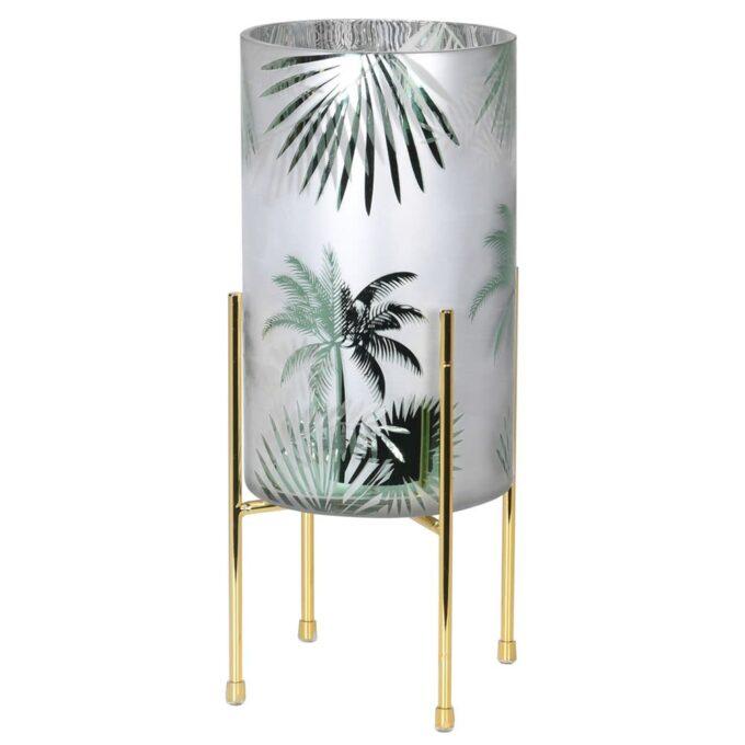 Стъклен свещник на златиста поставка с принт палми