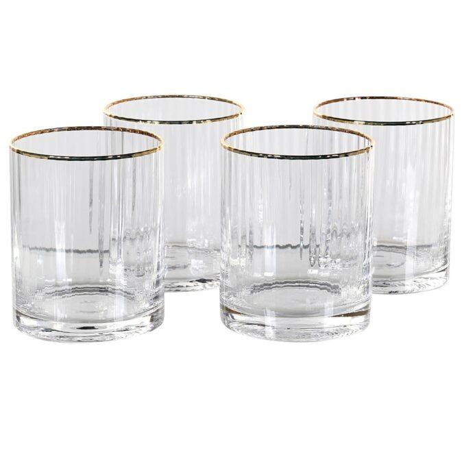 Комплект 4 оребрени чаши със златист кант