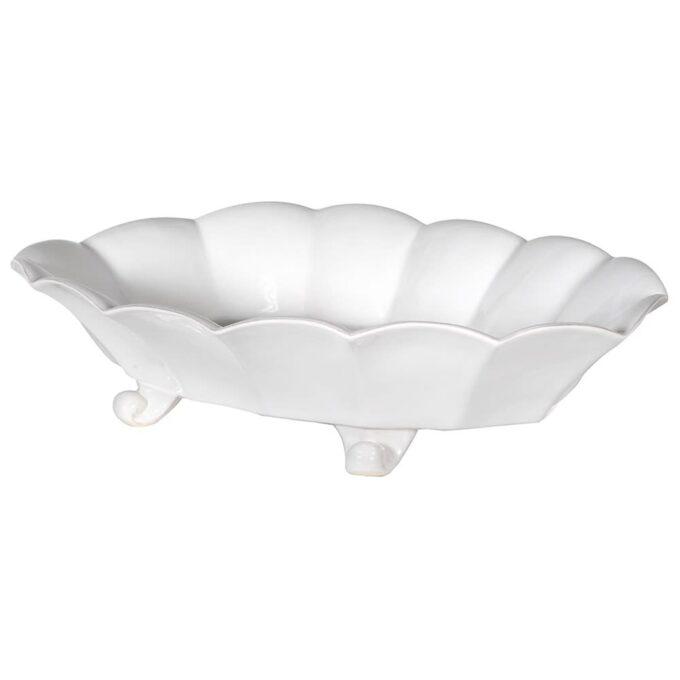 Бяла керамична фруктиера на крачета