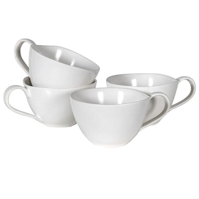 Комплект 4 бели чаши за кафе / чай - керамика