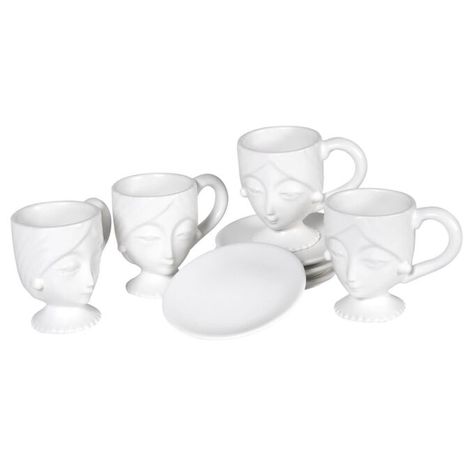 "Комплект 4 чаши за кафе ""Лица"""