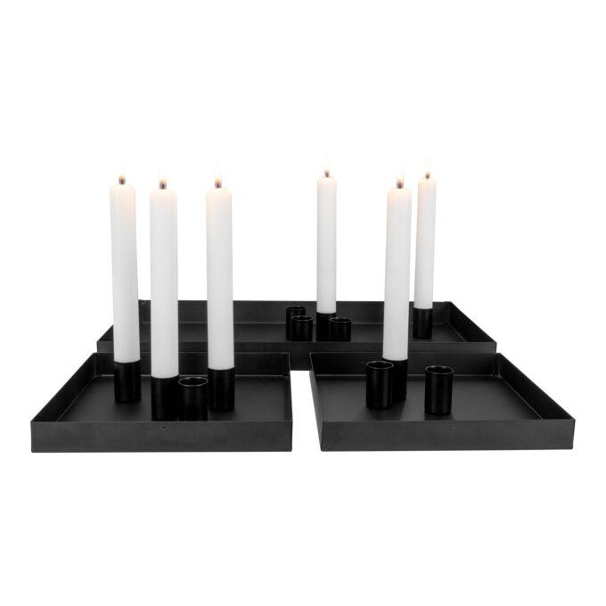 Комплект 3 черни метални поставки за свещи